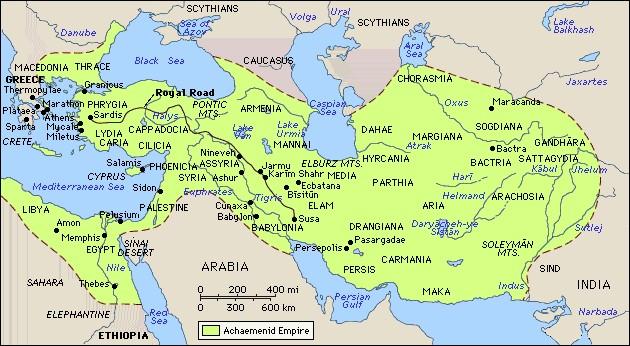 نقشه ی ایران در دوران هخامنشیان